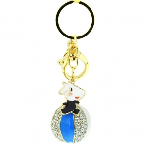 Rhinestone Beach Ball Keychain- Blue