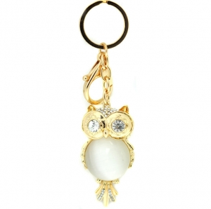 Rhinestone Owl with Gem Accent Keychain - Gold