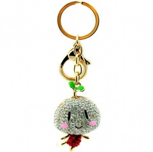 Rhinestone Happy Face Keychain- Red
