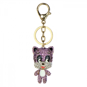 Rhinestone Raccoon Keychain- Purple