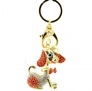 Rhinestone Puppy with Bow Keychain- Red