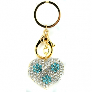 Rhinestone Heart with Floral Decor Keychain- Blue