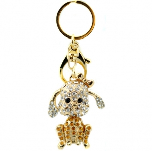 Rhinestone Puppy Keychain- Yellow