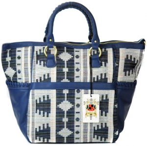 UE Arlow Original Style Vegan Leather Handbag with Native Print-10365- White and Navy