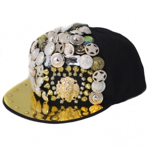 Fashion Snapback Hat with Gold-tone Accessories- Black