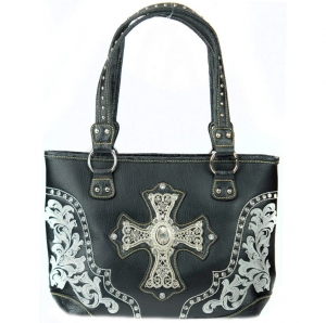 Faux Leather Western Tote Bag with Croc Skin, Rhinestone and Cross Charm Decor - Black