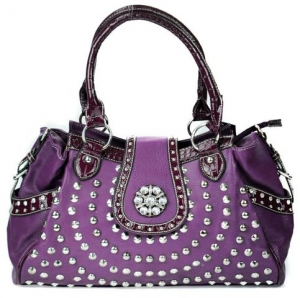 Faux Leather Western Handbag with Pockets and Croc Skin, Rhinestone, and Floral Charm Decor - Purple