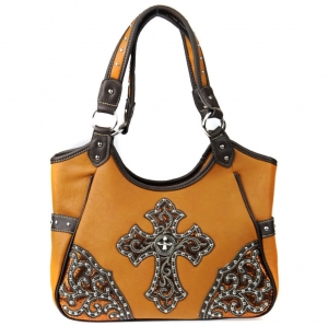 Faux Leather Western Handbag with Stud and Cross Charm Decor - Brown