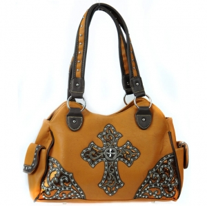 Faux Leather Western Handbag with Pockets and Stud and Cross Charm Decor - Brown