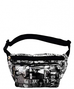 Michelle Obama Magazine Style Fanny Pack NEW Edition 28-MP3266 BLACK