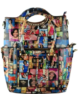 2 In 1 Chic Famous People Magazine Print Tote Handbag Design 28MP3602 MULTI