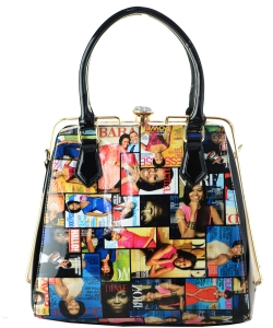 Frame Michelle Obama Fashion  Magazine Print Faux Patent Leather Handbag With Gold Embellishments 28MP3604-1 MULTI