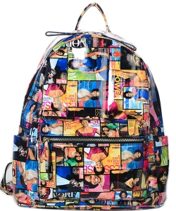 Fashion Magazine Print Faux Patent Leather Bagpack  28MP3606 MULTI