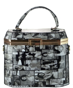 Frame Michelle Obama Fashion  Magazine Print Faux Patent Leather Handbag With Gold Embellishments 28MP3608 BLACK