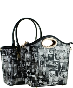 2 in one Fashion Magazine Print Faux Patent Leather Handbag With Gold Embellishments 28-MP3612 BLACK