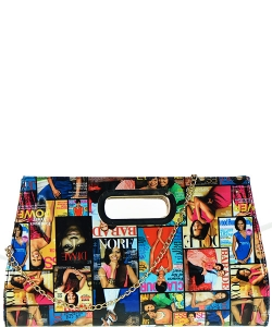 Fashion Magazine Clutch Print Faux Patent Leather Handbag With Gold Embellishments