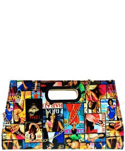 Michelle Obama Fashion Magazine Clutch Print Patent Faux Leather Handbag with Gold embellishment 28-MP3615 MULTI
