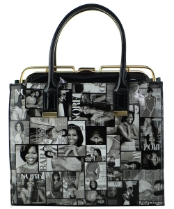 Frame Michelle Obama Fashion  Magazine Print Faux Patent Leather Handbag With Gold Embellishments 28-MP3617-1 BLACK