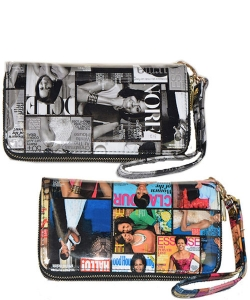 Package of 12 Pieces Magazine Fashion Two Zipper Wallets 28mp8001