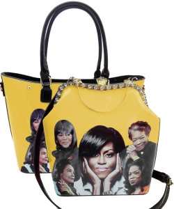Michelle Obama and African American Icons Style Handbags Collection 28mq6210 SET YELLOW