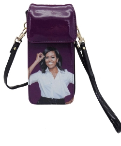 Michelle Obama Cellphone Wallet Wristlet Collection 28-MS3921 purple
