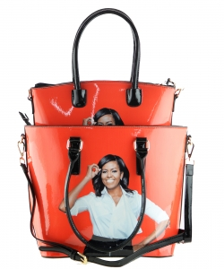2 in one Fashion Magazine Print Faux Patent Leather Handbag With Gold Embellishments 28-MS6520 ORANGE