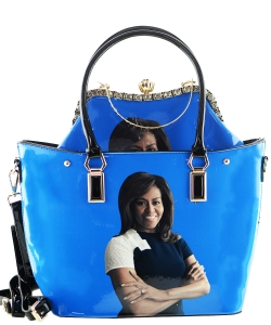 2 in one Fashion Magazine Print Faux Patent Leather Handbag With Gold Embellishments 28-MS6523 BLUE