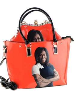 2 in one Fashion Magazine Print Faux Patent Leather Handbag With Gold Embellishments 28-MS6523 ORANGE