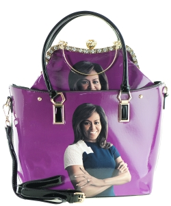 2 in one Fashion Magazine Print Faux Patent Leather Handbag With Gold Embellishments 28-MS6523 PURPLE