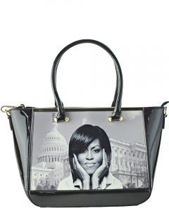 Michelle Obama Fashion Magazine Handbag. Print Patent Faux Leather Handbag with Gold embellishment 28-MS6562 BLACK