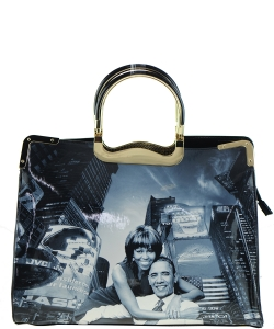 Frame Michelle Obama Fashion  Magazine Print Faux Patent Leather Handbag With Gold Embellishments 28PB9203 BLACK