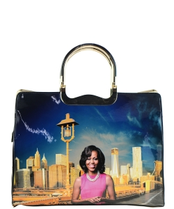 Frame Michelle Obama Fashion  Magazine Print Faux Patent Leather Handbag With Gold Embellishments 28PB9203 MULTI