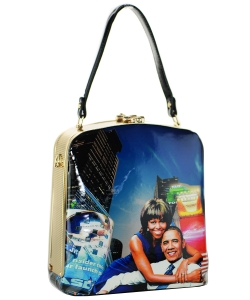 Fashion Magazine Print Faux Patent Leather Handbag With Gold Harware 28-PB9207 MULTI