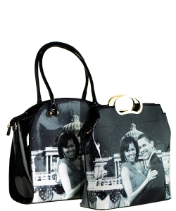 2 in one Fashion Magazine Print Faux Patent Leather Handbag With Gold Embellishments 28PS7215