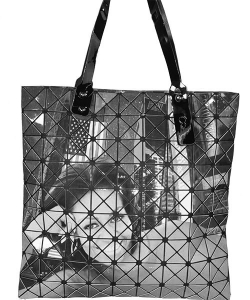 Fashion Magazine Print Faux Patent Leather Handbag BLACK
