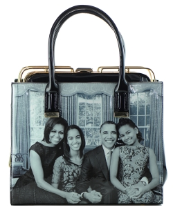 Frame Michelle Obama Fashion  Magazine Print Faux Patent Leather Handbag With Gold Embellishments 28-WW7202 BLACK