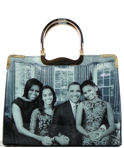 Frame Michelle Obama Fashion  Magazine Print Faux Patent Leather Handbag With Gold Embellishments 28-WW7203 BLACK