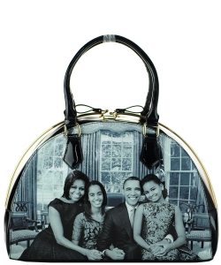 Frame Michelle Obama Fashion  Magazine Print Faux Patent Leather Handbag With Gold Embellishments 28WW7204 BLACK