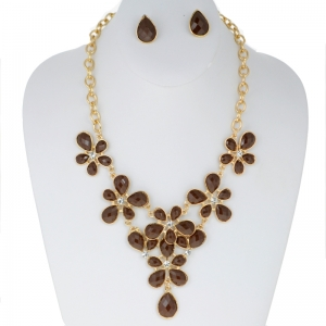 Floral Faux Ruby Necklace and Earring Combo 29189 X25 Brown