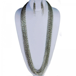 Necklace and Earring Combo 29343 X43 Silver