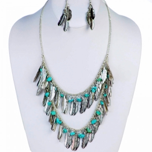 Necklace and Earring Combo 29351 X43 Silver