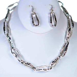Chain Necklace and Earring Combo 29352 X43 Silver