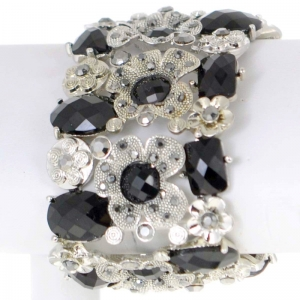 Floral Rhinestone Bracelet 29500 X26 Black and Silver