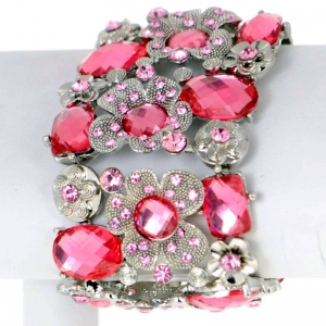 Floral Rhinestone Bracelet 29500 X26 Pink and Silver