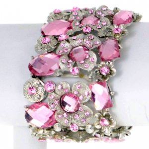 Floral Rhinestone Bracelet 29506 X26 Pink and Silver