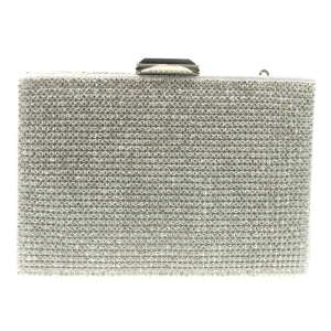 Square Rhinestone Embellished Evening Bag X26 29527 SILVER
