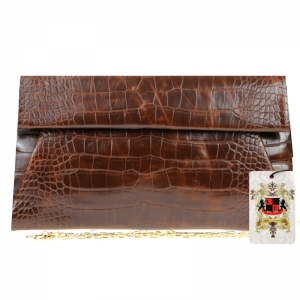 UE Original Style Vegan Leather Clutch Emilia 10385 Chocolate