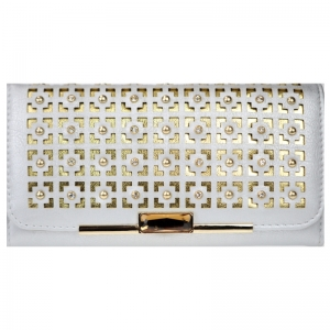 Stud and Rhinestone Wallet 29822 X36 Silver
