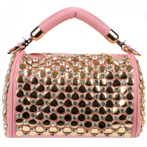 Stud and Rhinestone Handbag 29878 X51 Pink