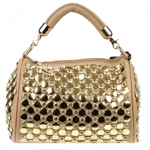 Stud and Rhinestone Handbag 29878 X51 Sand